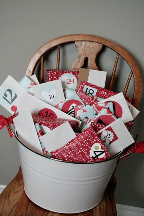 Advent Calendar envelopes in a bucket