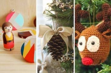 DIY homemade Christmas decorations for the home this festive season. Easy and cheap ideas for kids to make and for you to craft. There's a whole array of ideas, some rustic, some chic, all of them beautiful, including how to make a pine cone bow ornament, scrap ribbon tree decoration for the Christmas tree, paper Christmas baubles, washi tape Christmas tree, salt dough tree decorations, gingerbread cookie decorations, papier mache tree baubles, simple Christmas wreath ornaments, pinecone decorations, super simple wooden nativity ornaments, mini paper lanterns, homemade cookie garlands, Christmas ornaments and baubles crafted using book pages, twig Christmas trees, paper stars and snowflakes #ChristmasDecorations""