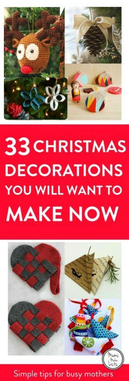 DIY homemade Christmas decorations for the home this festive season. Easy and cheap ideas for kids to make and for you to craft. There's a whole array of ideas, some rustic, some chic, all of them beautiful, including how to make a pine cone bow ornament, scrap ribbon tree decoration for the Christmas tree, paper Christmas baubles, washi tape Christmas tree, salt dough tree decorations, gingerbread cookie decorations, papier mache tree baubles, simple Christmas wreath ornaments, pinecone decorations, super simple wooden nativity ornaments, mini paper lanterns, homemade cookie garlands, Christmas ornaments and baubles crafted using book pages, twig Christmas trees, paper stars and snowflakes #ChristmasDecorations
