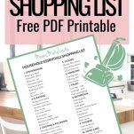 FREE PRINTABLE HOUSEHOLD MASTER LIST SHOPPING LIST CLEANING LAUNDRY PRODUCTS. This is a free PDF printable master shopping list grocery list for household essential cleaning, laundry and housework items and products needed to manage the household chores, a monthly checklist of household essentials