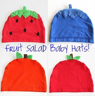 Fruit Salad Baby Hat Free Pattern, Free baby clothes patterns, baby hat pattern, free baby sewing pattern, free baby hat sewing pattern,