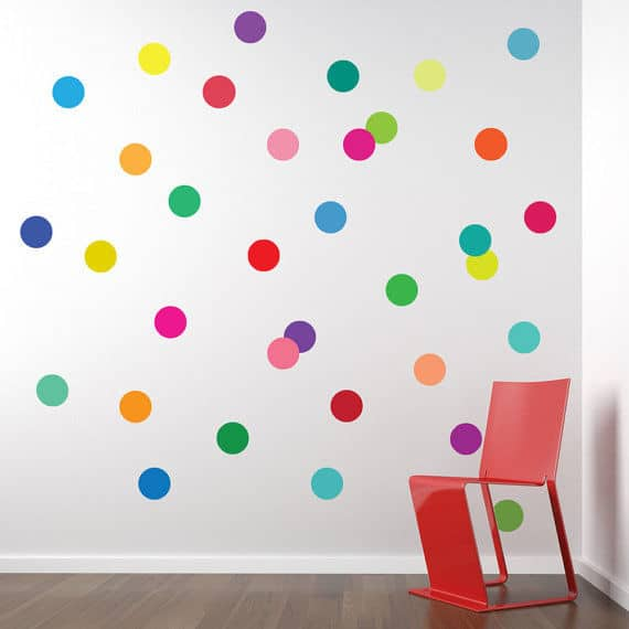 Confetti rainbow polka dot decals