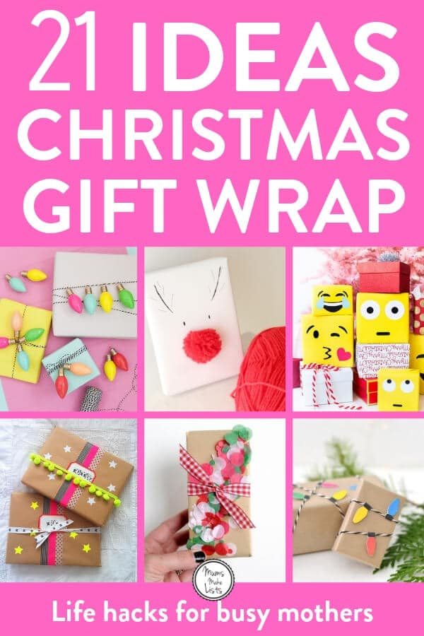 21 Christmas gift wrapping ideas - Get creative with these gorgeous ideas for Christmas gift wrapping. You may love to keep things simple with brown paper and string or you may like to get super creative with pom poms. There are some super lovely ideas in this roundup #Christmas #ChristmasGifts #ChristmasCrafts(3)