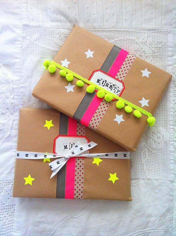 Fabrik Store Neon pompom gift wrap