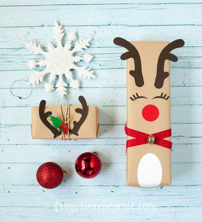 Frog Prince Rudolph with antlers gift wrap Christmas