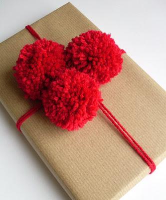 Paper n Stitch pompom gift wrap