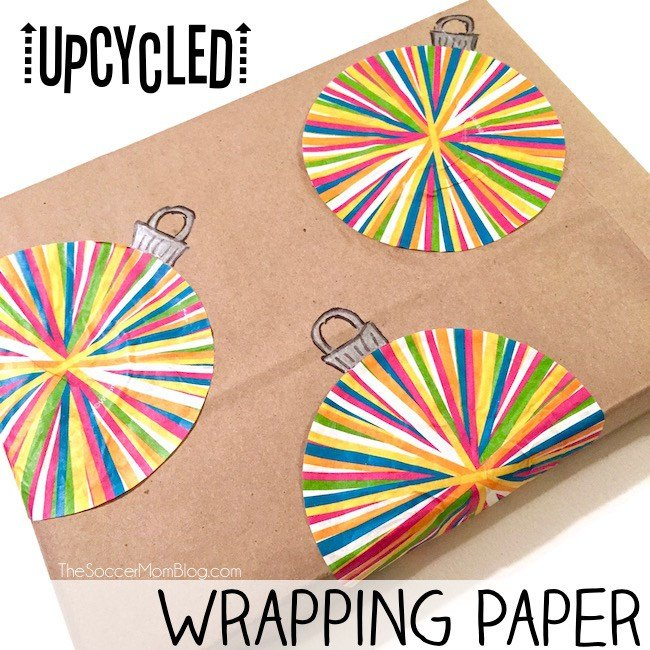 Upcycled cupcake wrapper homemade wrapping paper