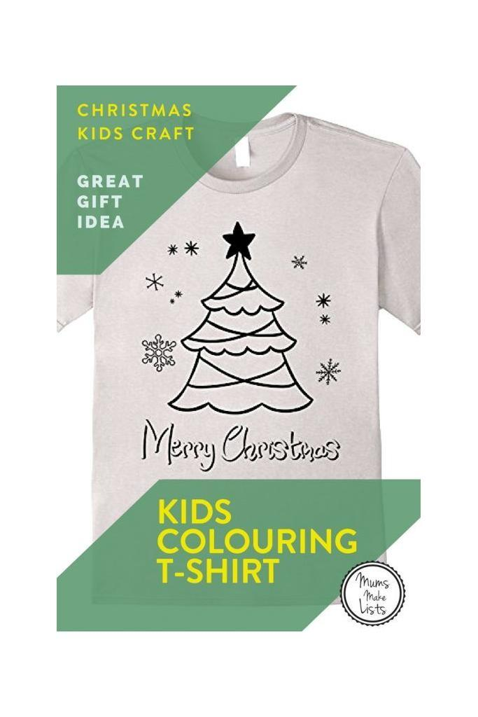 This is a great Christmas craft gift for kids to make, either in the run up to Christmas or to be given on Christmas day and then craft. Merry Christmas Kids Coloring shirt - Decorate your own tree