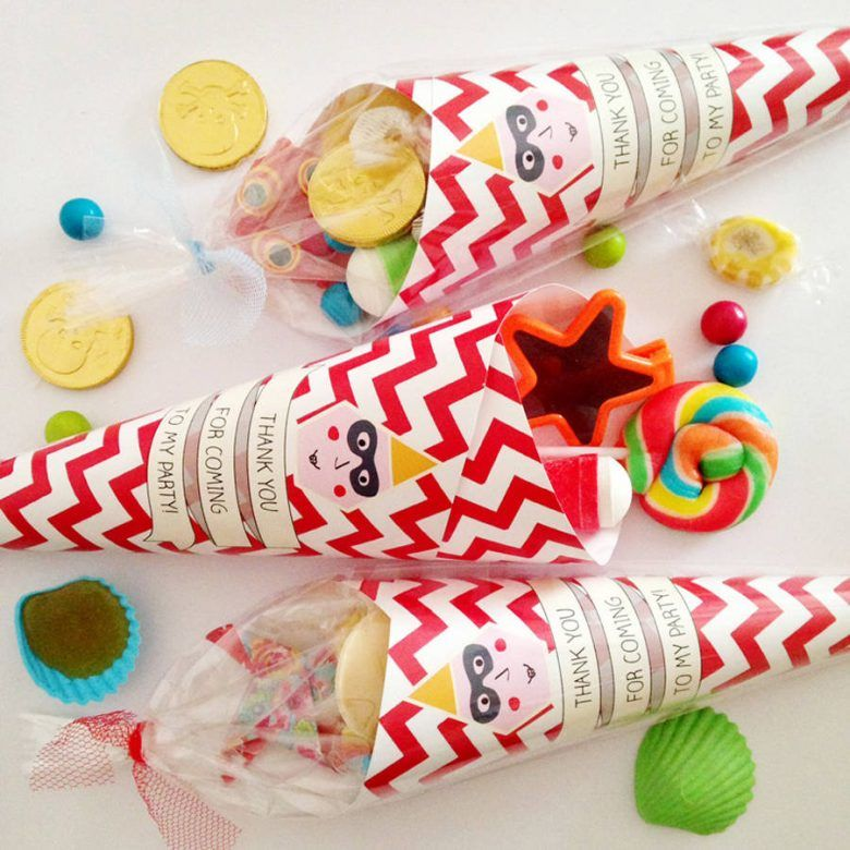 Alternative kids party bag favour ideas, pre-filled party cones