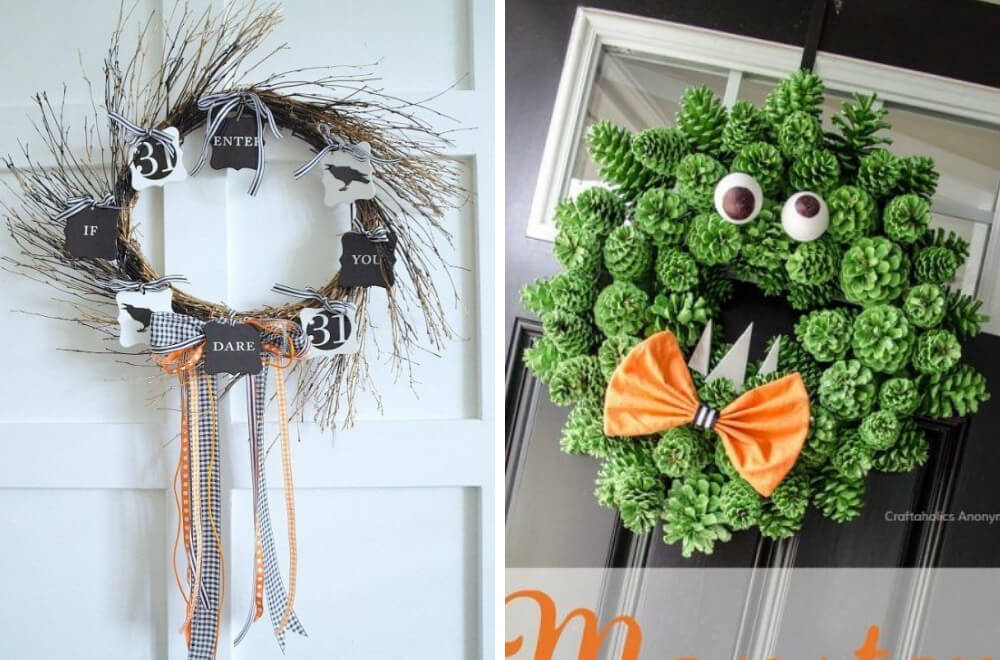 Easy DIY Halloween wreath tutorials #Halloween #HalloweenDecorations #Craft #HalloweenCraft