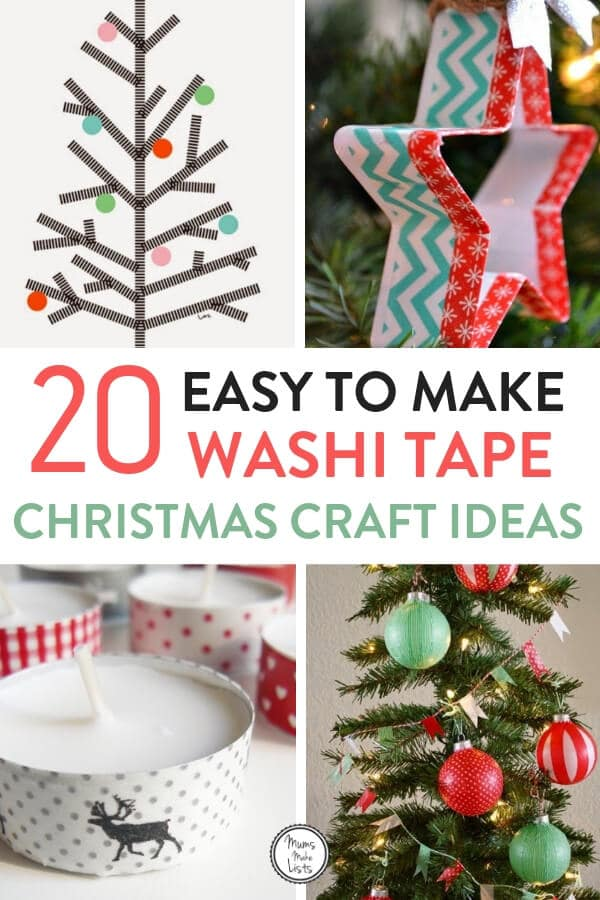 Washi tape is a great way to make beautiful craft creations even if you aren't that good at craft!! This is a roundup of lovely ideas of things you can craft for Christmas, there's ideas for Washi tape Christmas trees to do on your wall, Christmas decor ideas, how to use Washi tape to decorate gift wrap and make cards and more #Christmas #ChristmasCrafts #ChristmasDecor