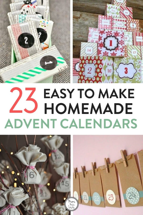 Make a homemade advent calendar this year for your kids. This is a roundup of some really easy to make advent calendars that your kids will love #Christmas #DIYCrafts #Advent #dventCalendar #christmascrafts