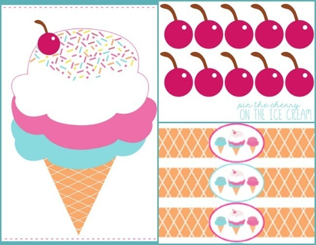 Pin the cherry on the ice-cream, Kids pin the tail printable