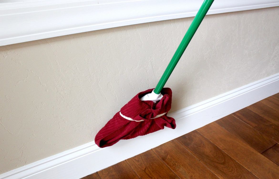 Clean baseboards with a broom #cleaninghack