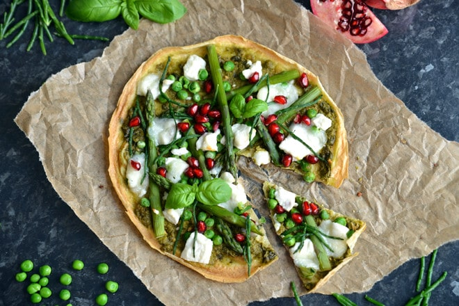 Green Veggie Pesto & Goats Cheese Pancake Pizza