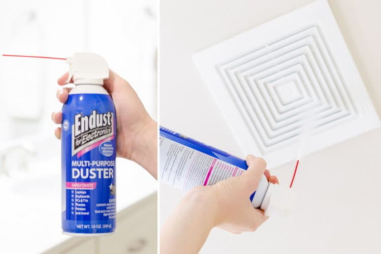 Spray canned air into a dusty bathroom exhaust fan. #CleaningHack