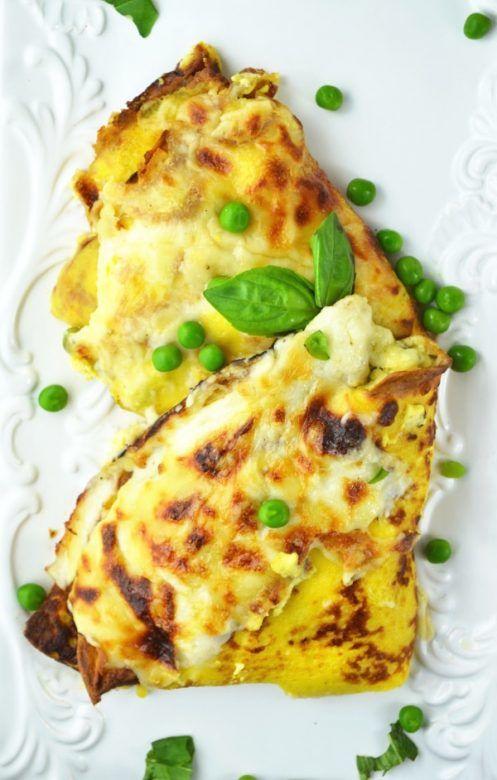 pea, ham and fontina cheese pancake filling