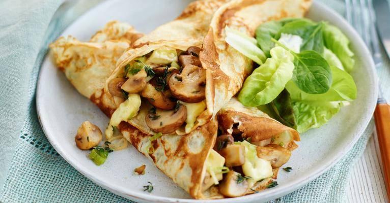 Garlic mushroom and brie pancakes