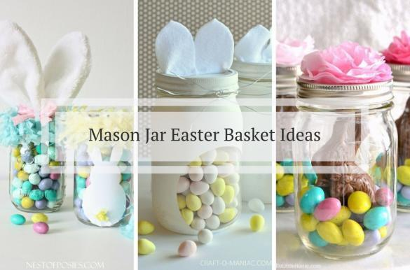 Easter archives mums make lists cute ideas for diy mason jar easter baskets filled with mini eggs chocolate and bunnies negle Choice Image