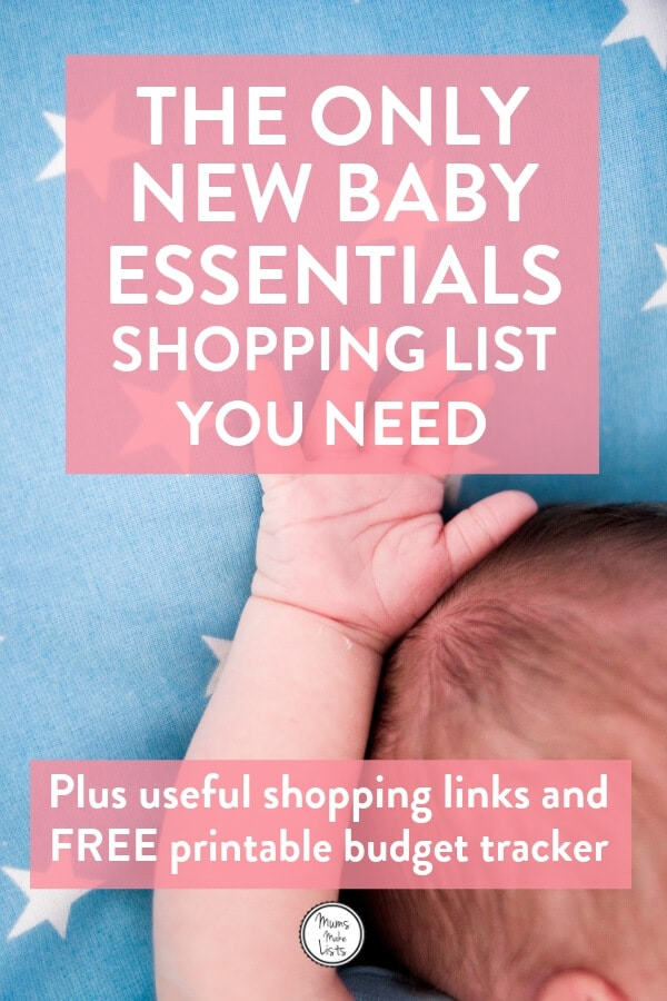 Newborn shopping list, baby shopping list, essentials for new baby, what to buy for new baby