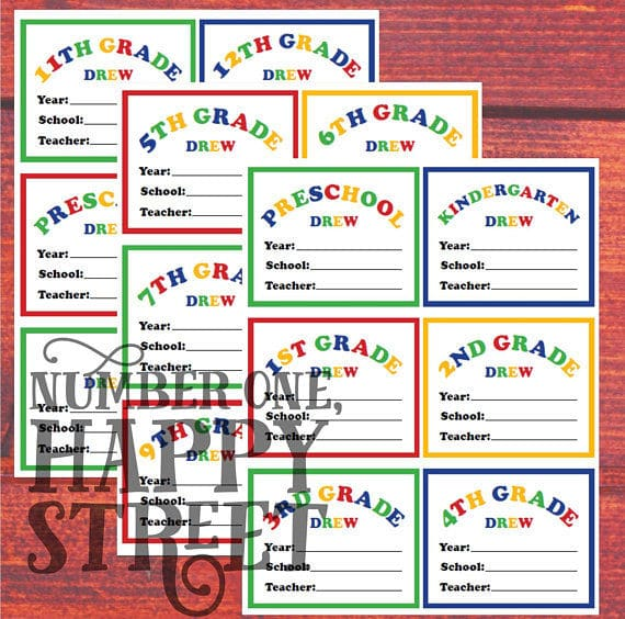 Etsy, CUSTOM School Memory Box supplies - Folder Labels for Preschool thru 12th Grade, 3 (three) 8.5x11 sheets for immediate download