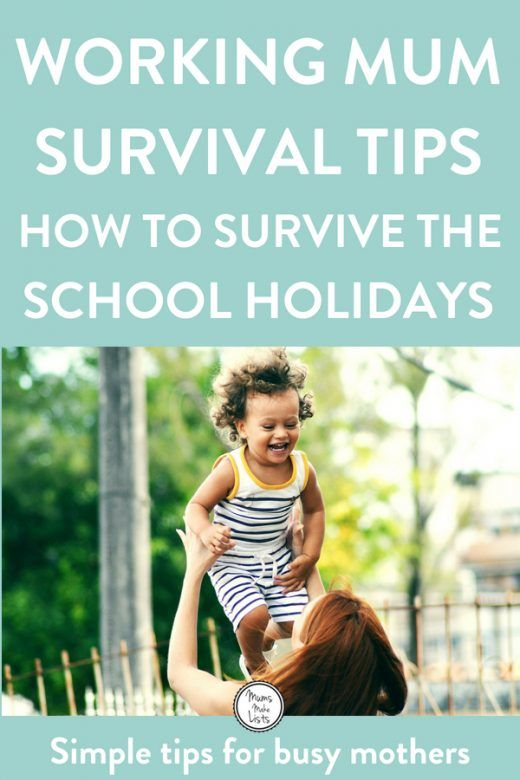 Working mum tips for surviving the school holidays with your kids. A simple list of tips and hacks for stress-free summer school holidays, with simple planning ideas for childcare, annual leave, activities, meal-planning and more. #WorkingMum #WorkingMom #WorkingMomLife #WorkingMomProblems #momlife #mumlife #mumlife #momlife #motherhood #organization #TimeManagement #Schoolholiday #School #FamilyOrganisation #FamilyLife