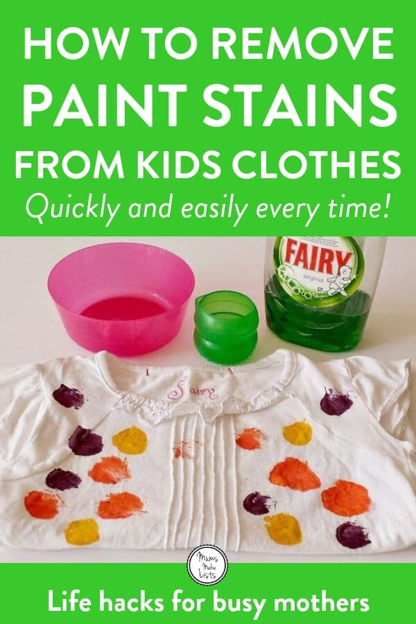 How to Get Paint Out of Kids Clothes | Mums Make Lists