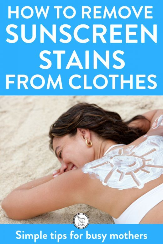How to remove sunscreen stains from clothing - simple tips for avoiding sunscreen staining your clothes and how to remove sunscreen stains from clothes, special tips for hardwater areas, which can make staining worse. #Summer #Laundry #homemaking #homemakingtips #Sunscreen #Avobenzone #lifehacks #laundryhack