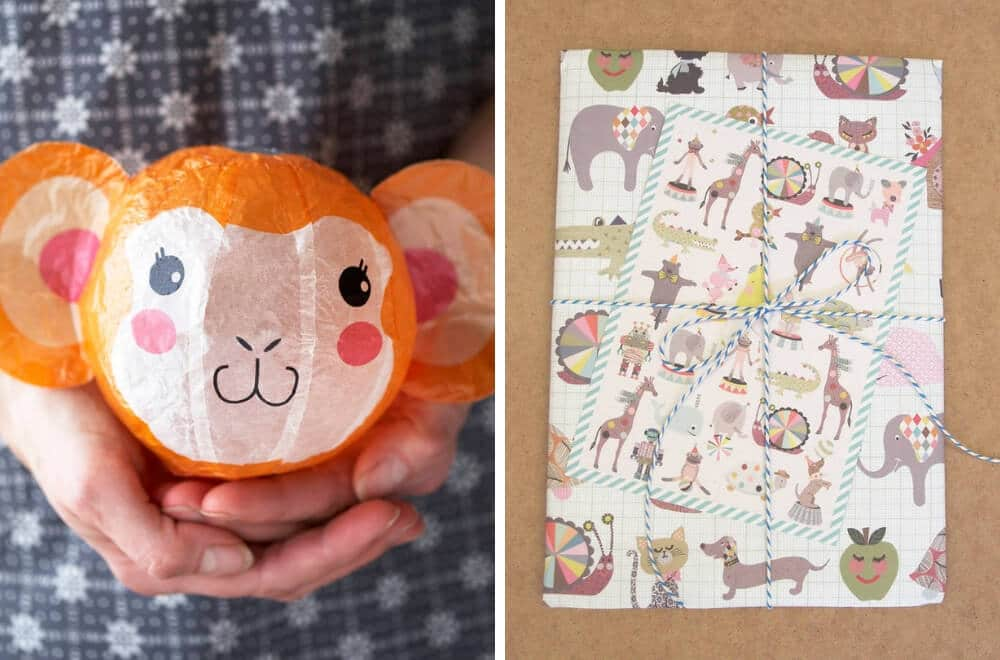 Japanese Paper Balloons gift wrapped - pretty and fun option in place of a party favour bag