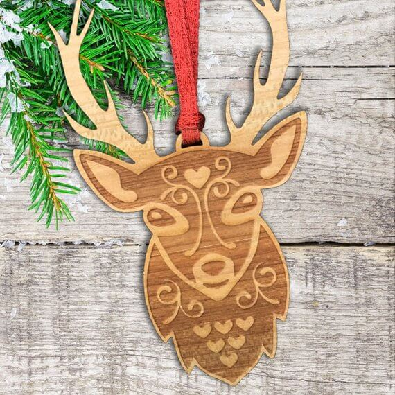 Etsy Scandinavian Christmas decoration stag wooden dec