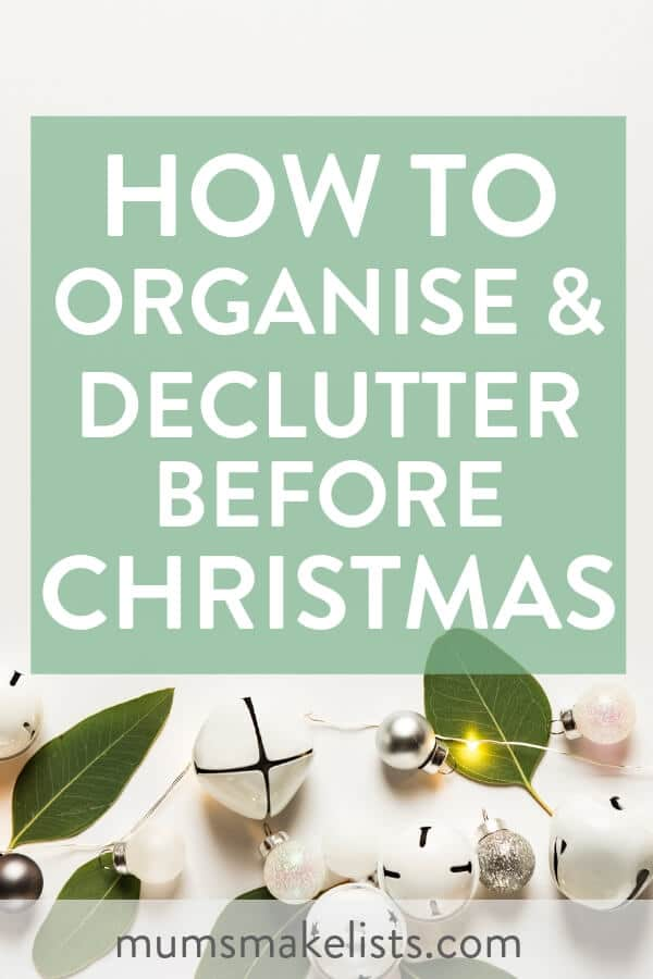 Declutter before Christmas and get your home organised. Make things easier this year by using these 10 simple decluttering tips before Christmas #Christmas #declutter #Organize #DeclutteringTips #Decluttering #DeclutterMyHouse #Organize #Organization #OrganizationIdeas #Christmas #ChristmasPlanning #overwhelmed #holiday #simplify