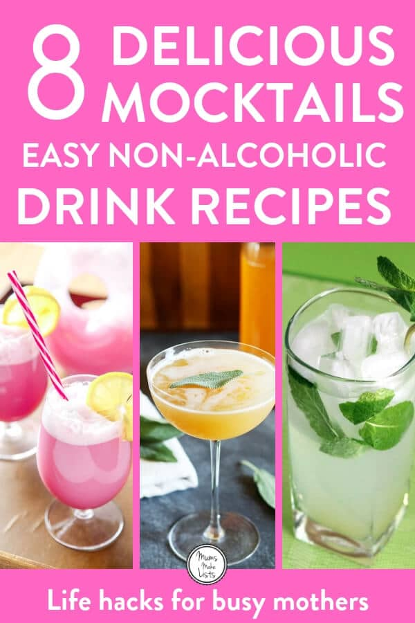 Easy nonalcoholic drinks recipes for delicious mocktails (virgin cocktails) for party guests who are teetotal or don't want to drink alcohol. We have a nohito, an alcohol free French 75 other takes on cocktail classics #mocktail #cocktail #nonalcoholic #mocktailrecipe #nonalcoholic #nonalcoholicdrinks #nonalcoholicdrinkrecipe #christmas #ChristmasDrinks #ChristmasParty #NewYearParty