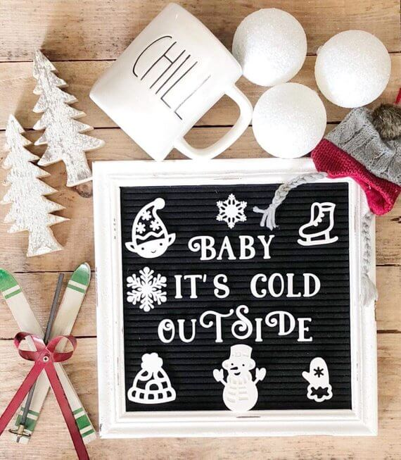 Winter icons letter board set