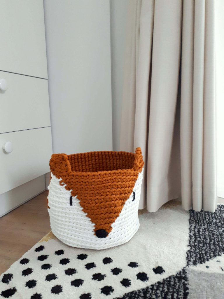 Fox crochet storage basket
