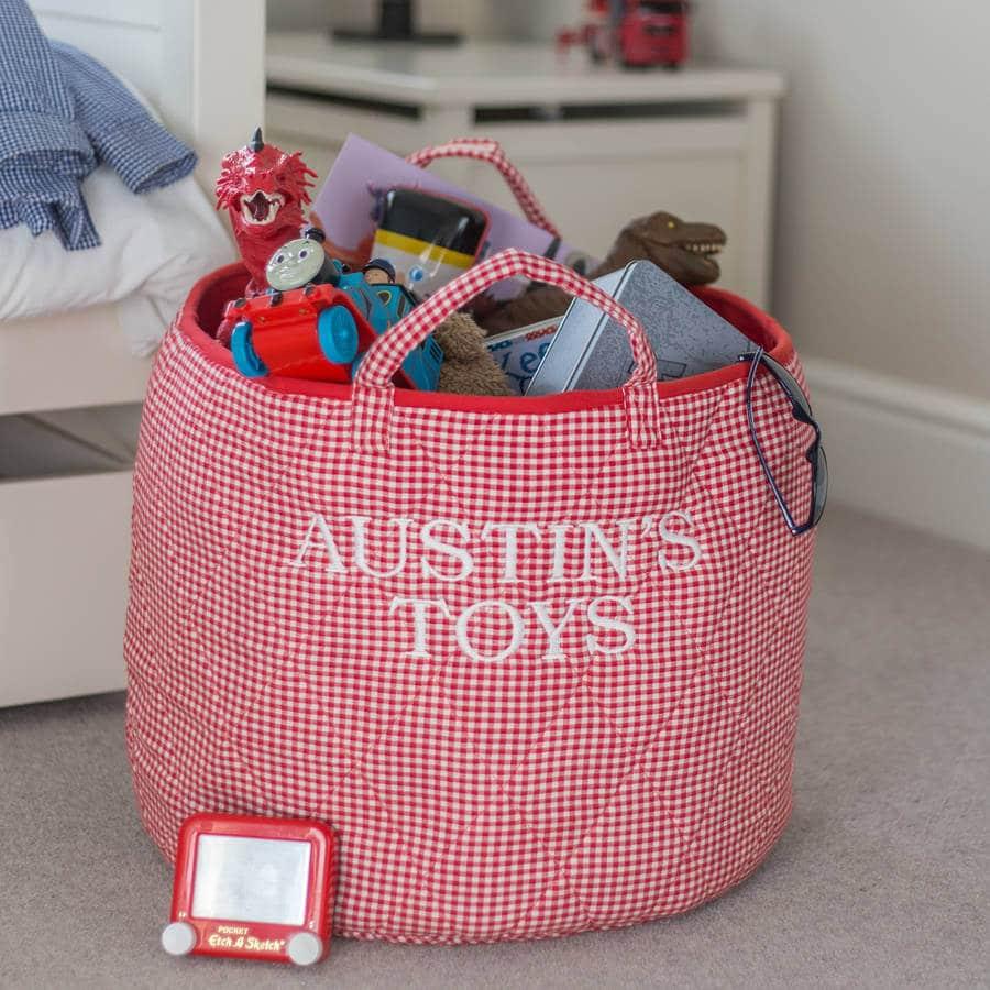 NOTHS red gingham toy storage basket