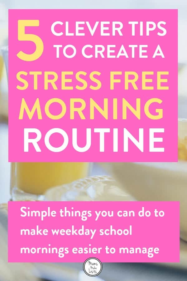 Morning routine, school day routine, family organisation