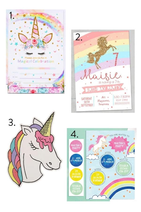 Unicorn party invites, unicorn party invitations, unicorn party theme