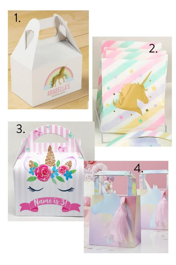 Unicorn party bag, unicorn party favours bag, unicorn party favours box