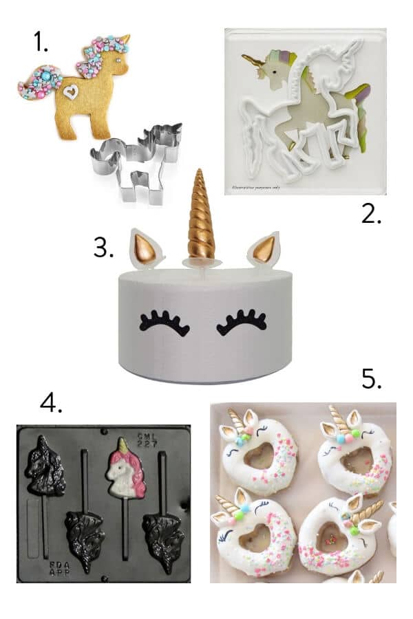 Unicorn baking cookies, molds and cutters