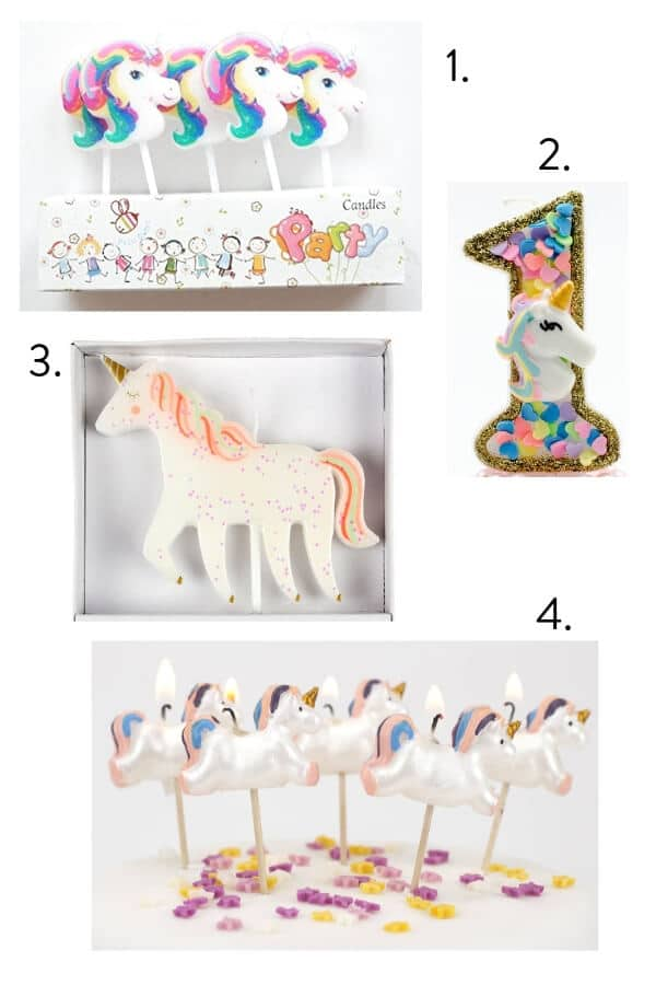Unicorn birthday cake candles, unicorn cake candles, unicorn themed kids party, unicorn