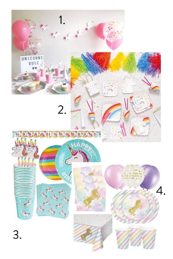 Unicorn themed kids party, unicorn themed party kit, kids party