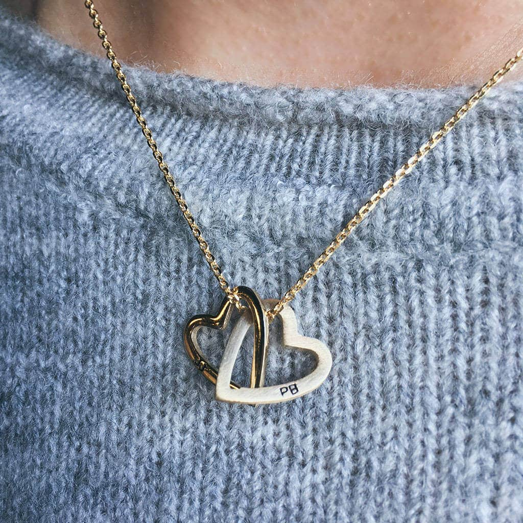 original_solid-rose-gold-interlocking-hearts-necklace, unusual gift idea for mum, unusual mother's day gift, special gift for mum, jewellery gift for mum, new mum gift idea