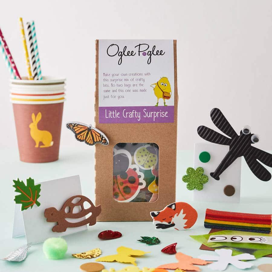 Woodland craft party bag, Oglee Poglee, pre-filled kids craft party bag, alternative party bag ideas, kids party favours