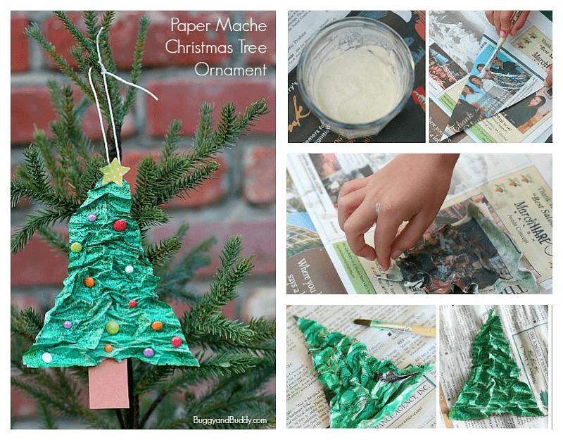 paper mache homemade Christmas decoration, handmade paper mache Christmas decoration, paper mache decoration tutorial