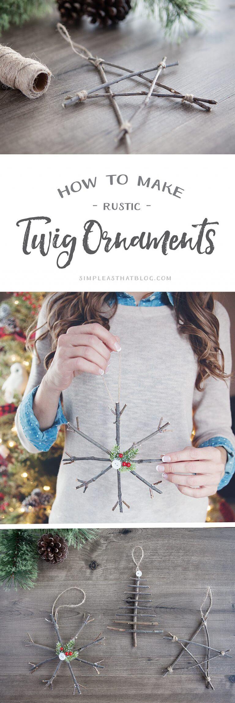Easy to make Xmas decorations, homemade Christmas decorations, twig Christmas decoration tutorial
