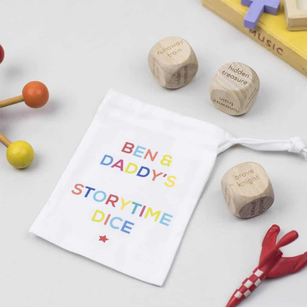 personalised story-time dice, stocking filler ideas for three year old girl, stocking filler ideas for 4 year old boy