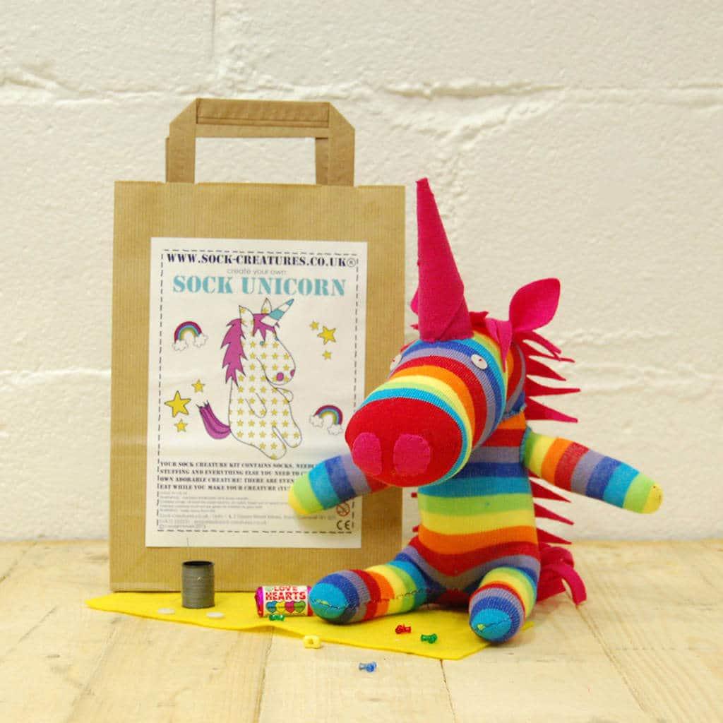 Sock unicorn craft kit, stocking filler gift ideas
