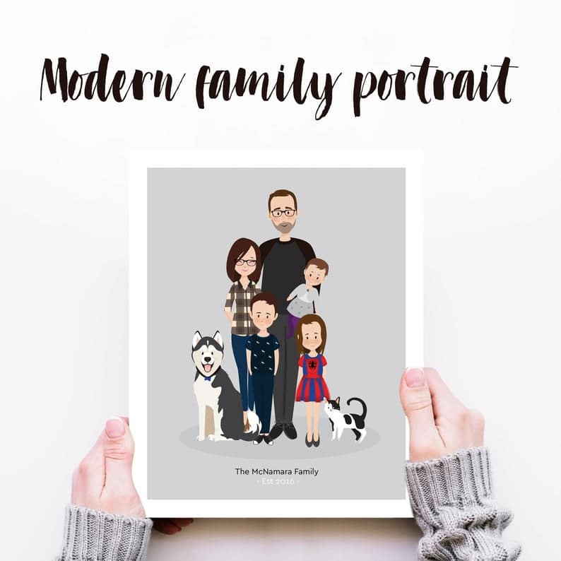 Custom family portrait, illustrated custom family portrait, Etsy custom family portrait, unique gift ideas