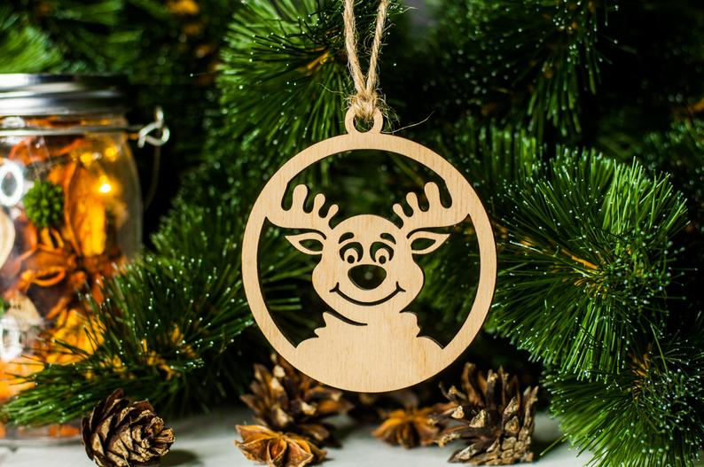 ECO-FRIENDLY CHRISTMAS BAUBLE, PLYWOOD RUDOLPH CHRISTMAS TREE DECORATION