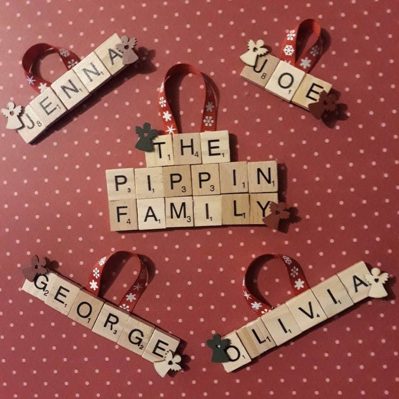 Personalised Scrabble letter Christmas decorations, unique family Christmas gift idea